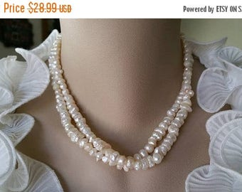 ON-SALE SALE -Two Strand Beautiful Ivory White Freshwater Pearl Necklace - Bridesmaid Gifts, Brides Gifts, Wedding Jewelry - Buy 5 Get 1 Fre