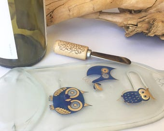 Hand Painted Cheese Tray, Custom Cheese Tray, Owl Tray, Flattened Wine Bottle, Fused Spoon Rest, Owl Decor