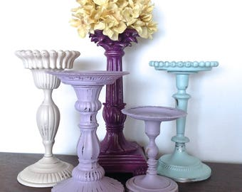 Purple/Lavender/Robin's Egg Blue Candle Holders, Set of 5 Pillar Holders, Cottage Chic French Inspired Table Top Candle Holder