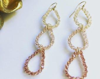 Dangle earrings. Swarovski crystal gold filled earrings. Tear drop earrings. Handmade jewelry. Elegant.