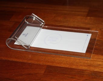 "Vintage Lucite Desktop Paper Note Pad Holder Clear Acrylic 5"" x 8"""