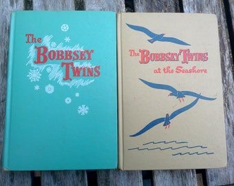 The Bobbsey Twins Vintage children's books by Laura Lee Hope, set of 2 hardcover, Merry Days Christmas story, instant collection
