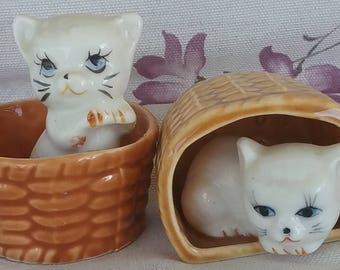 Two Kittens in Baskets-Ceramic Figures