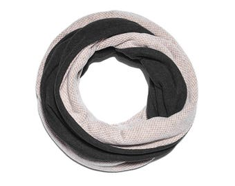 Mens Scarf, Infinity Scarf, Gray Scarf for Mens, Gift For Him, Winter Cotton Scarves