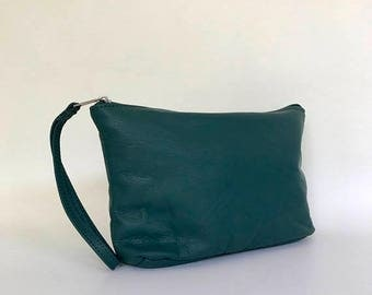 ON SALE Green Leather Bag with Wrist Strap, Fashion Wristlet, Trendy Pouch, Weekend Clutch Purse, Cosmos