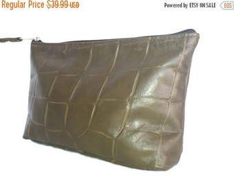 ON SALE Original Leather Clutch Bag, Wristlet Pouch Bag, Stylish Olive Green Purse, Fashion Handbag, Cosmos