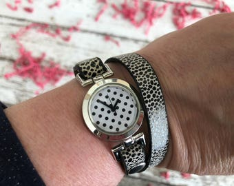 Spotted Black Leather Wrap-Around Bracelet Watch for Dog Moms