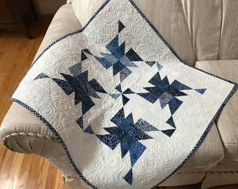 Indigo Quilt Free Shipping Blanket Table Topper Blue Baby Boy Wall hanging Batik Patchwork white swirl Triangles Shades of Blue