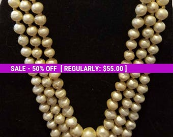 Signed Hattie Carnegie 3 strand faux pearl necklace