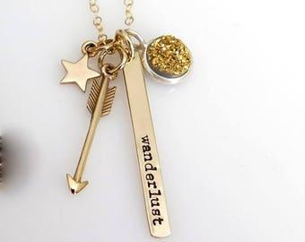 SALE Wanderlust Necklace, Travel Necklace, Wanderlust Jewelry, Boho Chic, Adventure Necklace, Druzy Necklace