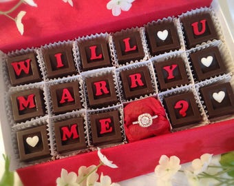 Will You Marry Me Chocolates and Ring - Unique Chocolate Marriage Proposal - Unique Marriage Proposal - Marry Me Chocolates