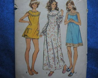 vintage 1970s simplicity sewing pattern 5030 misses nightgown in 3 lengths and bloomers size XL 20-22