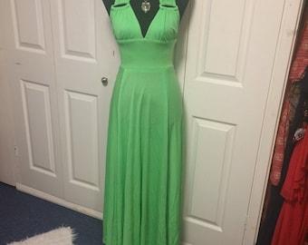 70s Vintage Psych GoGo Glam Green Halterneck Maxi Dress S