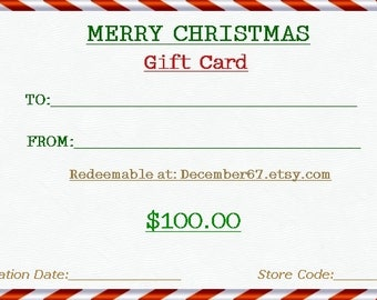100 Dollar Gift Card, Gift Certificates For Christmas Gifts, Printable Gift Cards