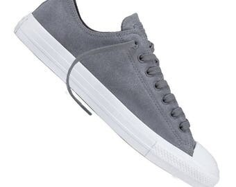 Converse Cool Gray Climate Wet Weather Suede Low Top Chuck Taylor w/ Swarovski Crystal Bling Rhinestone Jewel Wedding All Star Sneaker Shoes