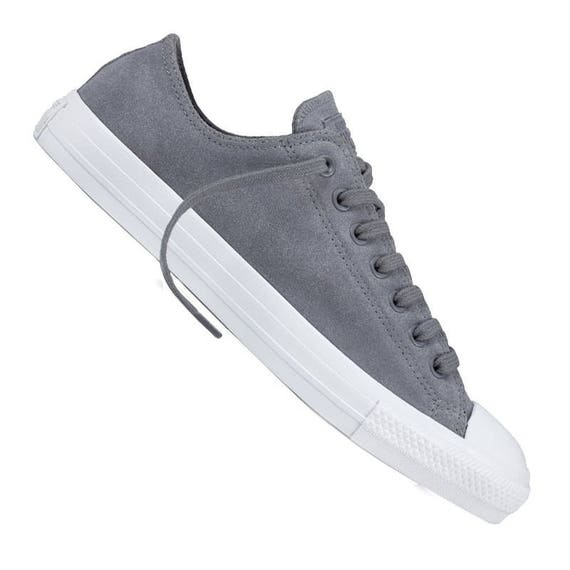 Gray Converse Cool Climate Wet Weather Suede Low Top Chuck Taylor w/ Swarovski Crystal Bling Rhinestone Jewel Wedding All Star Sneaker Shoes