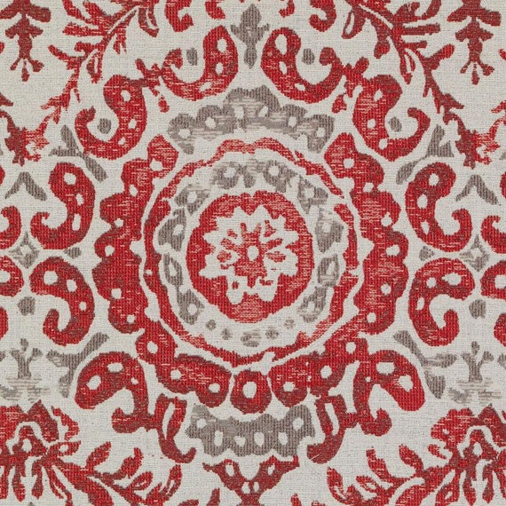Red Batik Upholstery Fabric by the Yard Modern Grey Red Ikat