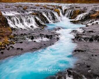 Iceland Bruarfoss Waterfall Landscape Photography Print   12x18 16x24 20x30 24x36 30x40