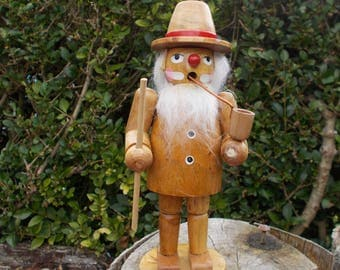 Vintage wood figurine incense smoker