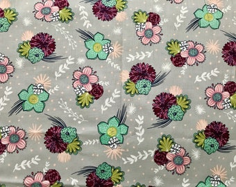 FABRIC-Gray Fall Modern Floral by the Yard-Quilt Fabric-Apparel Fabric-Home Decor Fabric-Fat Quarter-Craft Fabric-Fat Quarters