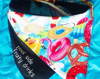 "Dog Bandana with text ""Poolside & Fruity Drinks"" with pool toys and pizza slices"