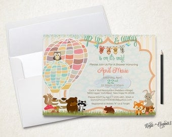 Hot Air Balloons and Baby Animals Shower Invitation.Up Up and Away Printable.Pastels.Neutral Baby Shower