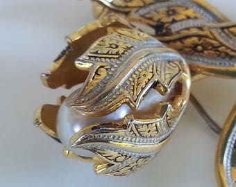 Damascene Spanish Pin Brooch Vintage Tulip Gold Black Pearl Birthday Gift for Her