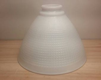 Milk Glass Replacement Light Fixture Chandelier Globe Shade Little Squares Pattern Excellent Condition!