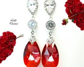 Red Earrings Swarovski Red Magma Crystal Pear Shaped Earrings Ruby Earrings Cubic Zirconia Earrings Red Jewelry Holiday Jewelry RM32PC