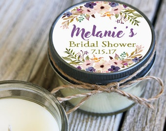 12 - 4 oz Soy Candle Favors - Purple Floral  - Floral Bridal Shower Favors - Purple Wedding - Lavender Wedding