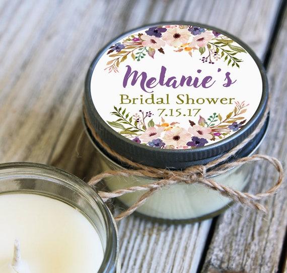 12 - 4 oz Soy Candle Bridal Shower Favors - Floral Label - Floral Bridal Shower Favors - Purple Bridal Shower Favor - Mason Jar Favor