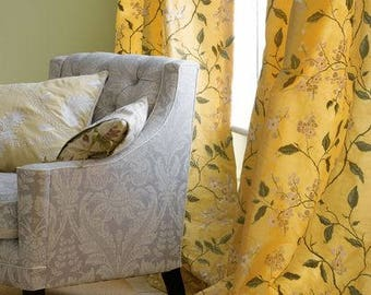 LEE JOFA KRAVET Cherry Blossom Embroidered Silk Fabric 10 Yards Yellow Oyster Green