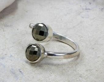 SUMMER SALE - Silver ring,pyrite ring,bezel ring,adjustable ring,sterling ring,gemstone ring,stacking ring,multistone ring
