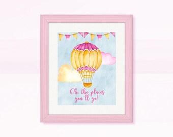 BEAUTIFUL Nursery Wall Art, Pink Hot Air Balloon Nursery Room Wall Decor, Watercolor Balloon, Wall Decor, Instant Download, Digital Image