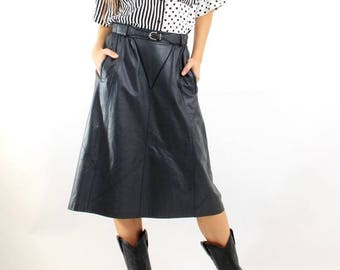 SALE Vintage Leather Skirt / Grey Leather Skirt / Long Leather Skirt / Skirt Size 40 / Flared Skirt / 80s Leather Skirt