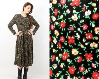 SALE Vintage Black Floral Long Boho Dress Size 12 UK