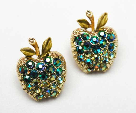 Apple scatter pins - Two Rhinestone Fruit  brooches - Aurora Borealis  - Gold small pin