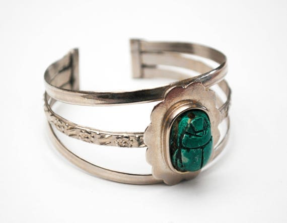 scarab beetle cuff bracelet - carved Clay ceramic  - turquoise blue - Egyptian Revival - Silvertone bangle