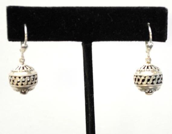 Sterling  Filigree ball Dangle Earrings - Silver  drop earring -letter B - Boho gypsy