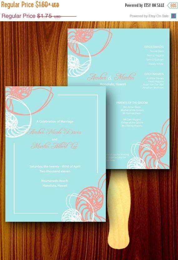 ON SALE Teal and Coral Outline Seashell Wedding Ceremony Program Hand Fan - Beach Destination, Weddings, Paper Paddle Craft Sticks Favors, R