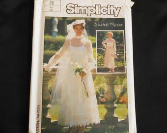Simplicity Pattern 7261 sz 20 Adult Woman Wedding Formal Bridesmaid Gown Unused Uncut Bust 42 Plus Size 1985 Michele Piccione Design