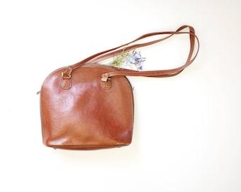 Cocoa brown leather handbag - women bag - french vintage handbag - leather shoulder bag - zippered bag - branded vintage bag - geometric