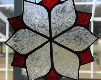 Frosted Lace and Red Suncatcher