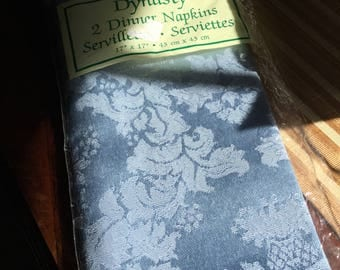 """Set of Two Blue Damask 17"""" x 17"""" Table Napkins/Dining/Linens/Serviettes"""