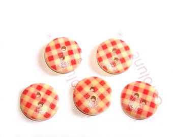 Small 15 mm x 5, red white GINGHAM wooden buttons