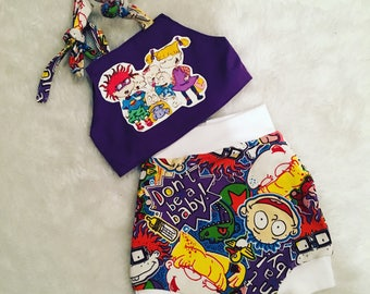 Rugrats, halter top, Shorties, cotton diaper cover,  nb, size 3, 6, 9, 12, 24 months, 2T