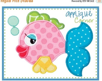 40% OFF Fish with Bubbles applique digital design for embroidery machine by Applique Corner
