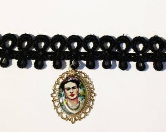 1 FRIDA KAHLO Black Lace Rope Choker Necklace