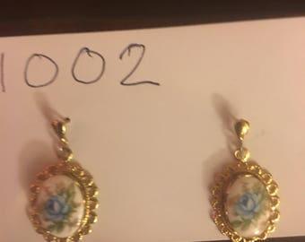 Vintage Dangle Cloisonne Earrings