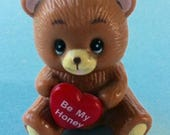 Teddy Bear Miniature Toy. 80s Plastic Toys. Bear Plastic Figurine. Be My Honey. Valentines Anniversary Gift.